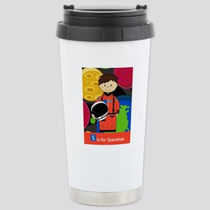 Spaceman Scene Stainless Steel Travel Mug