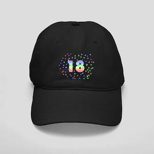 18th Birthday Pastel Stars Black Cap