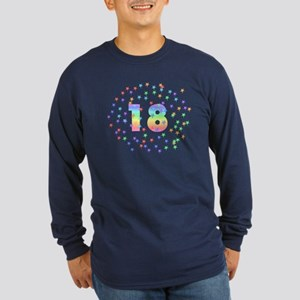 18th Birthday Pastel Stars Long Sleeve Dark T-Shir