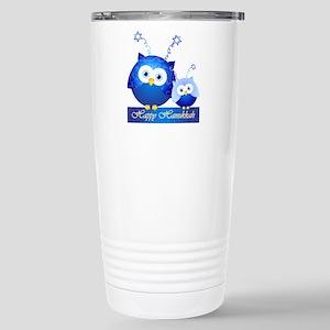 Happy Hanukkah Owls Stainless Steel Travel Mug