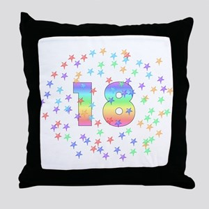 18th Birthday Pastel Stars Throw Pillow