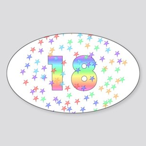18th Birthday Pastel Stars Oval Sticker