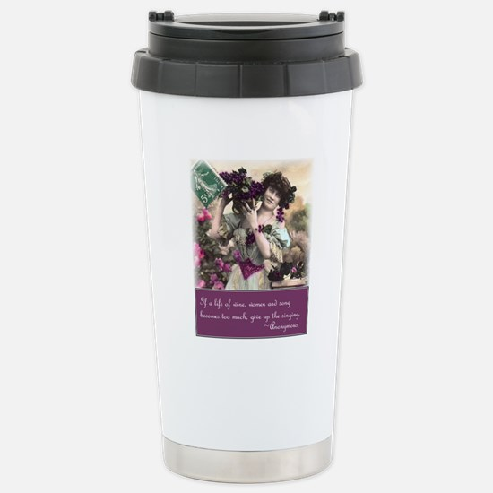 Wine women and song Stainless Steel Travel Mug