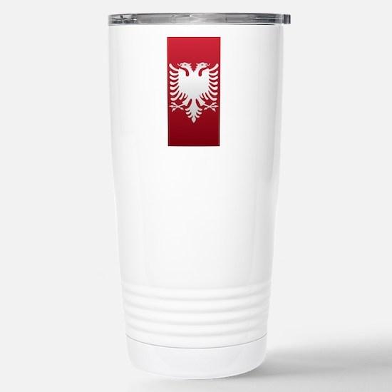 Albanian Eagle White on Stainless Steel Travel Mug