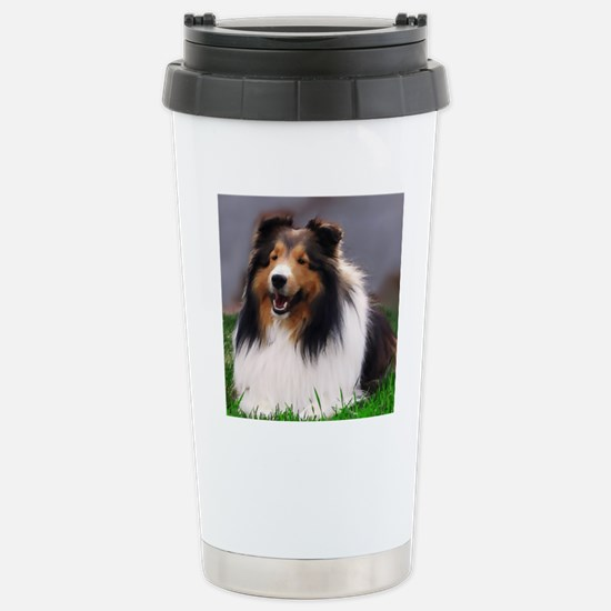 sheltie art canvas Stainless Steel Travel Mug