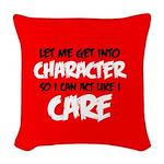 Like I Care Black-White Woven Throw Pillow
