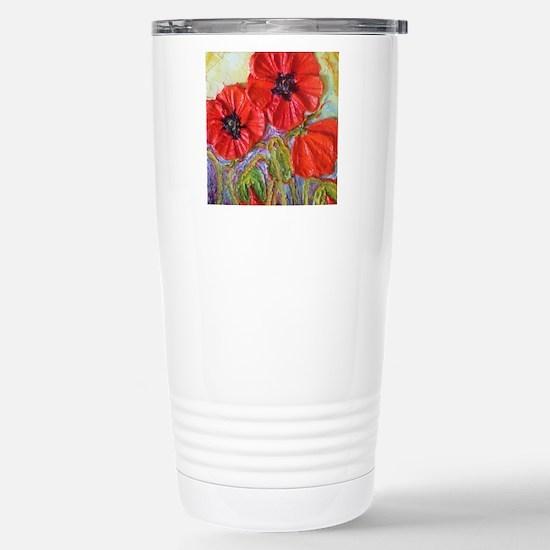 paris red poppies Stainless Steel Travel Mug