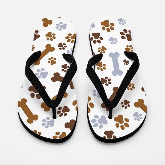Dog Paw Prints Pattern Flip Flops