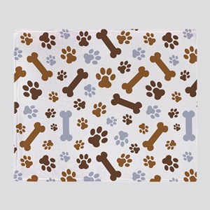 Dog Paw Prints Pattern Throw Blanket