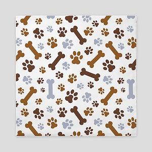 Dog Paw Prints Pattern Queen Duvet