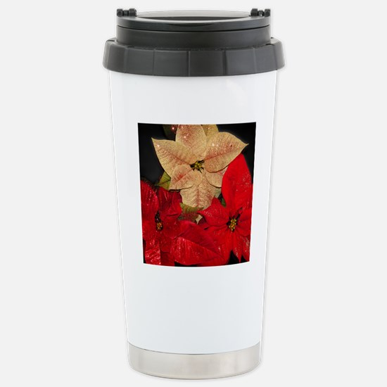 poinsettia_pillow Stainless Steel Travel Mug