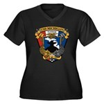 USS MICHIGAN Women's Plus Size V-Neck Dark T-Shirt