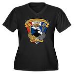 USS MICHIGAN Women's Plus Size V-Neck Dark T-Shirt