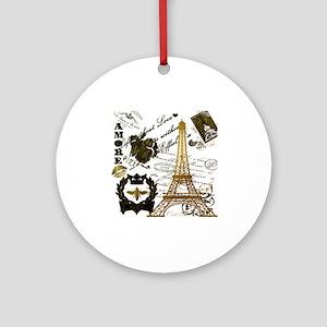 La Tour Eiffel Round Ornament