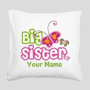 Custom Big Sister paterfly Square Canvas Pillow