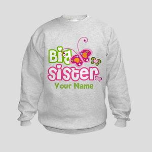 Custom Big Sister paterfly Kids Sweatshirt