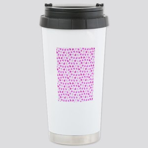 Pink Hearts with Flower Stainless Steel Travel Mug