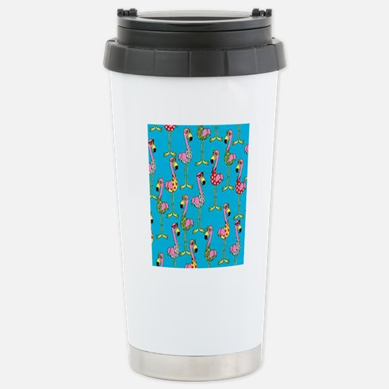 sharp-flamingos- Stainless Steel Travel Mug