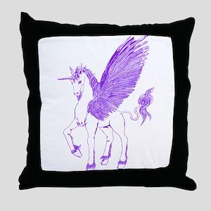 Violet Winged Unicorn Throw Pillow