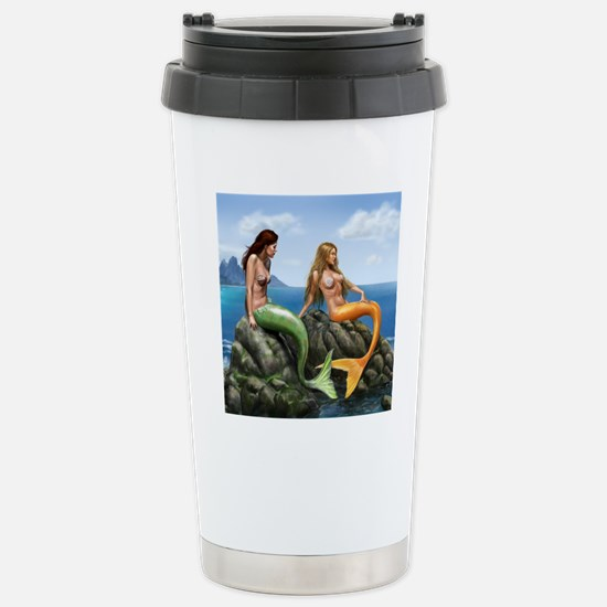 pensive mermaids on roc Stainless Steel Travel Mug