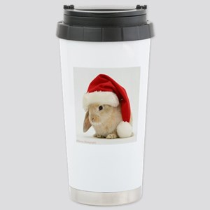 Bunny with Santa Hat Stainless Steel Travel Mug