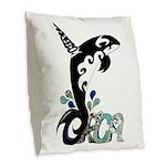 Orca Freedom Burlap Throw Pillow