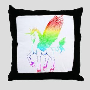 Rainbow Winged Unicorn Throw Pillow