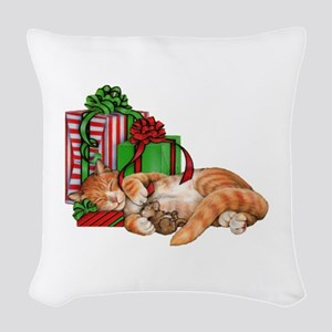Cute Cat, Mouse And Christmas Woven Throw Pillow