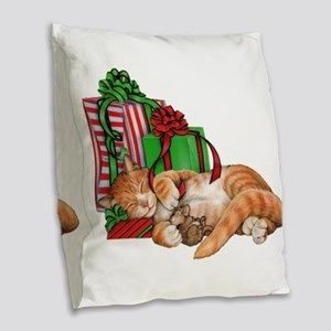 Cute Cat, Mouse And Christmas Burlap Throw Pillow