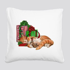 Cute Cat, Mouse and Christmas Presents Square Canv