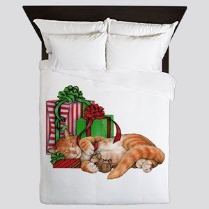 Cute Cat, Mouse And Christmas Presents Queen Duvet