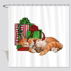 Cute Cat, Mouse and Christmas Presents Shower Curt