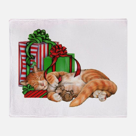 Cute Cat, Mouse And Christmas Throw Blanket
