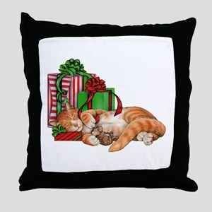 Cute Cat, Mouse And Christmas Throw Pillow