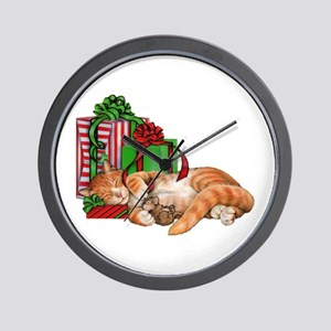 Cute Cat, Mouse And Christmas Presents Wall Clock