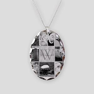 Elegant Photo Block and Monogram Necklace