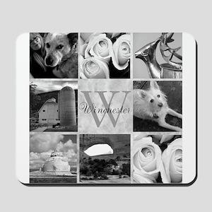 Elegant Photo Block and Monogram Mousepad