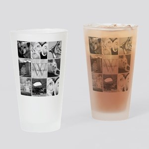 Elegant Photo Block and Monogram Drinking Glass