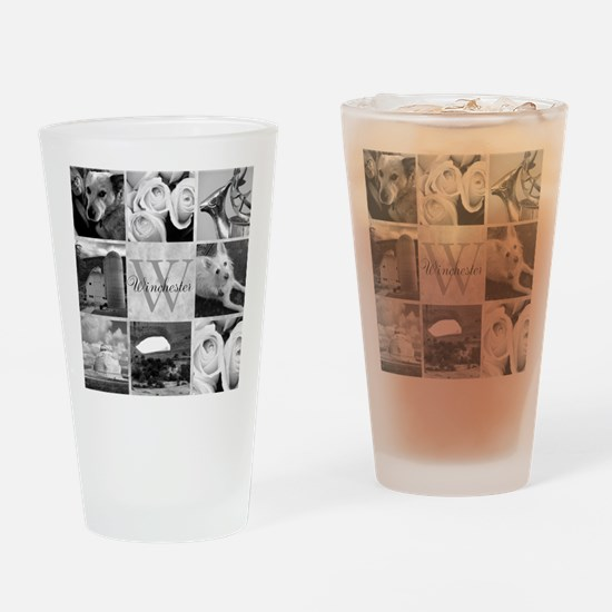 Elegant Photo Block and Monogram Drinking Glass