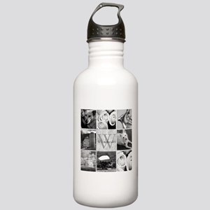 Elegant Photo Block and Monogram Water Bottle