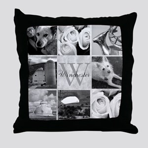 Elegant Photo Block and Monogram Throw Pillow
