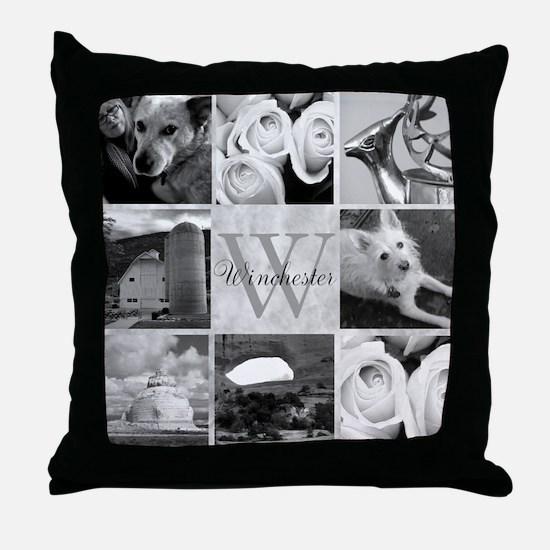 Elegant Photo Block and Monogram Throw Pillow