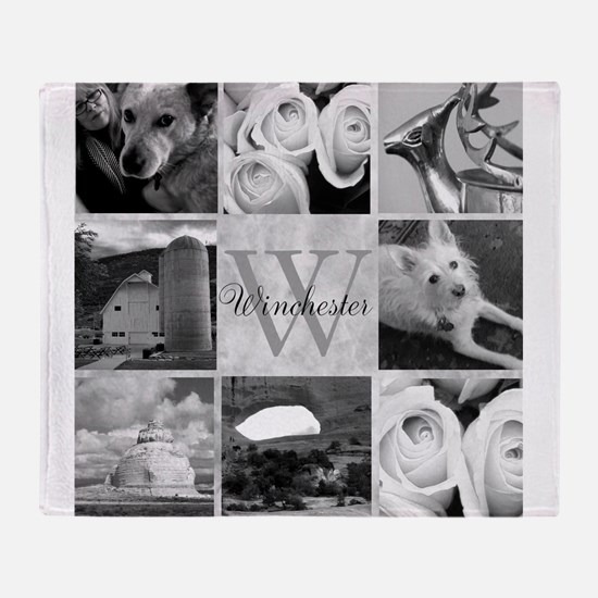 Elegant Photo Block and Monogram Throw Blanket