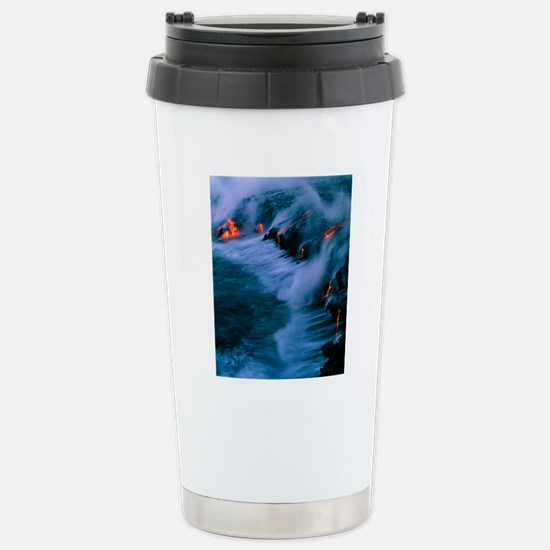 Molten lava flowing int Stainless Steel Travel Mug