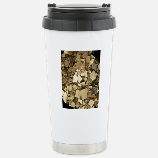 Cubic pyrite crystals Stainless Steel Travel Mug