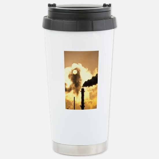 Chimney smoke from a ch Stainless Steel Travel Mug