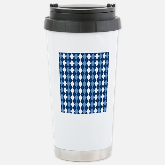Carolina Blue Argyle So Stainless Steel Travel Mug