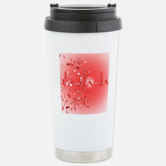 Red blood cells and ECG Stainless Steel Travel Mug