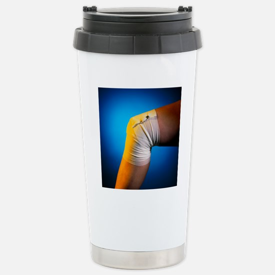 View of a bandaged knee Stainless Steel Travel Mug