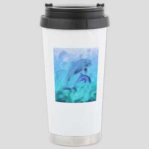 Painted Dolphins Stainless Steel Travel Mug